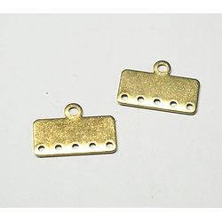 2 connecteurs 5 rangs en laiton doré 20x10mm