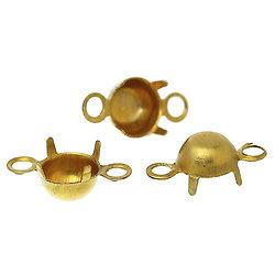 20 connecteurs pour strass en laiton doré 8x4mm
