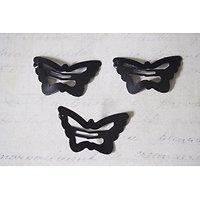 3 barrettes clips papillon en métal noir 30x18mm