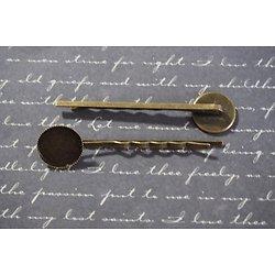 2 barrettes à cabochon rond 14mm en métal couleur bronze 19x63mm