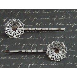 2 barrettes pinces à l'estampe fleurie ronde en métal argenté 21x60mm