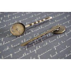 2 barrettes à cabochon ovale (13x18mm) en métal couleur bronze 19x63mm