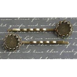 Barrettes pinces pour cabochons ronds en métal couleur bronze