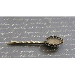 2 barrettes pinces à personnaliser en métal couleur bronze