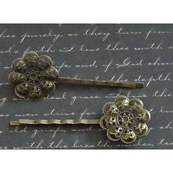 2 barrettes estampe fleur filigranée en métal couleur bronze 22x63mm