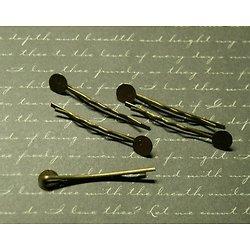 4 barrettes pince à plateau en métal couleur bronze 44mm