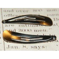 2 barrettes clips en métal argenté 45x13mm