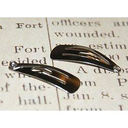 2 barrettes clips en métal argenté 29x10mm