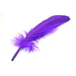 5 grandes plumes d'oie teintées violet 15-20cm
