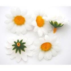 5 fleurs marguerite en tissu et plastique 34mm