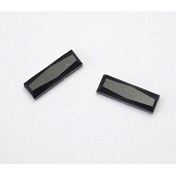 2 appliques rectangulaires en cristal noir 15x5mm