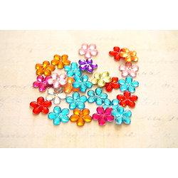 10 appliques fleurs à coller pour scrapbooking ou bijoux 10mm