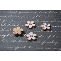 3 petites appliques fleurs en métal doré/rosé et émail blanc avec strass 12mm