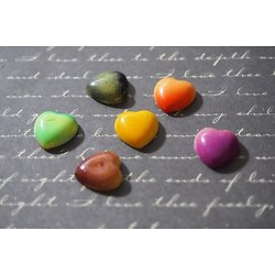 10 appliques cabochons en forme de coeur multicolores 12x4mm