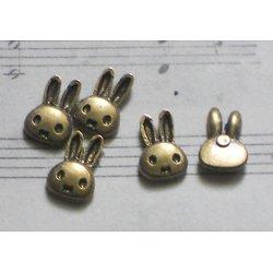 5 mini appliques tête de lapin en métal couleur bronze 7x10mm