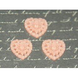 4 appliques/cabochons coeur rose et fleurs en résine 17mm