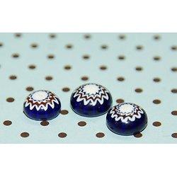 3 cabochons en verre millefiori bleu/blanc/rouge 7x5mm
