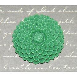 Grande applique fleur verte en résine 34mm