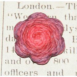 Applique fleur rouge et parme en raphia 30x6mm