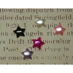 5 appliques cabochons étoiles nacrées multicolores en acrylique 11mm