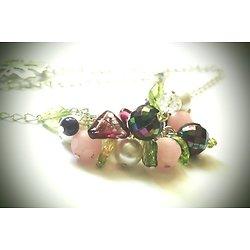 """Collier ras de cou """"Ode au printemps"""", collier aux multiples perles acidulées et fleuries"""
