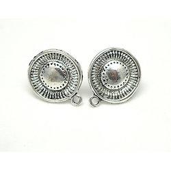 Clous d'oreille ronds avec anneau en métal argenté 19x13mm