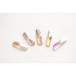 5 appliques longues à facettes irisées à coudre en acrylique 20x6mm