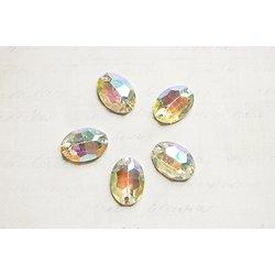 5 appliques ovales à facettes irisées à coudre en acrylique 16x10mm