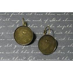 2 supports cabochons ronds pour boucles d'oreille dormeuses en métal couleur bronze 33x21mm