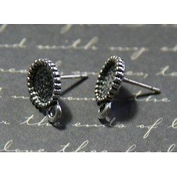 2 boucles d'oreille clous ronds en métal argenté 11x15mm et 9mm
