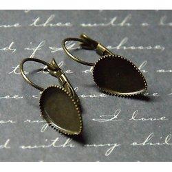 2 boucles d'oreille dormeuses en forme de goutte couleur bronze 11x27mm