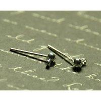 2 supports clous d'oreille boule à oeillet en métal argenté 14,5mm