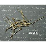 20 clous à tête plate en métal doré 30mm
