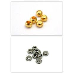 10 demi-perles embouts semi-percés en métal or ou argent