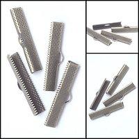 4 griffes/embouts pour bracelet manchette en métal couleur bronze 35mm
