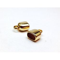 2 embouts pour cordelette plate 10x7mm en acrylique doré 17x9mm