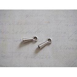 2 embouts en métal argenté pour corde, cordelette ou cuir 2,5mm