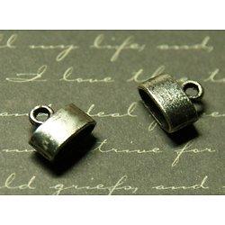 2 embouts pour cuir / cordon / ruban en métal argenté 10x12mm