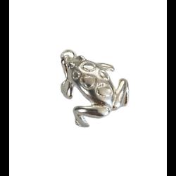 Cage à bola grenouille en métal argenté 32x19mm