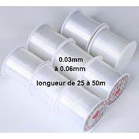 Bobine de fil nylon pour création de bijoux de 0.3 à 0.6mm - 50 à 20m