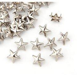 10 rivets / clous pour customisation de tissu étoile en métal argenté 7mm