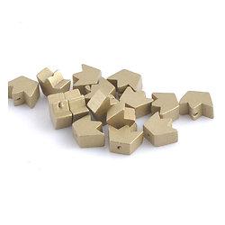 2 perles en bois couronne/étoile dorée/argentée 16x13mm