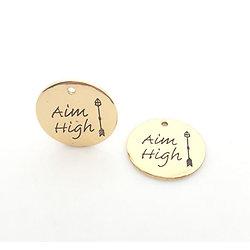 "Breloque médaillon rond ""Aim high"" / ""Vise haut"" en métal doré vieilli 25mm"