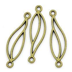 2 connecteurs évidés vague en métal couleur bronze 35x10mm