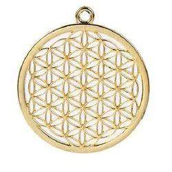Grand pendentif fleur de vie - chakra en métal doré