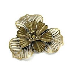 Grande applique fleur en métal couleur bronze 47mm