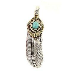 Grande breloque / pendentif plume en métal argenté, métal doré et cabochon turquoise 42x22mm