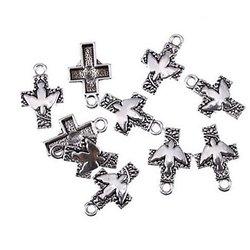 2 breloques croix catholique et colombe du St Esprit en métal argenté 25x16mm