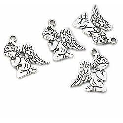 2 breloques ange priant en métal argenté 23x17mm