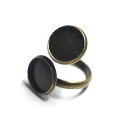 Support de bague double cabochon en métal couleur bronze 12mm